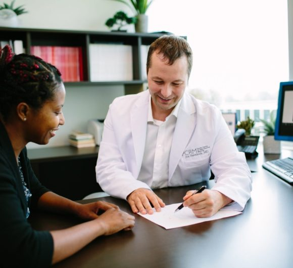 A patient is consulted by a fertility doctor at PCRM