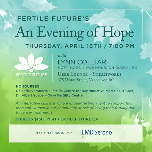 Fertile Future's 'An Evening of Hope' will be on Thursday, April 16th at 7:00pm.