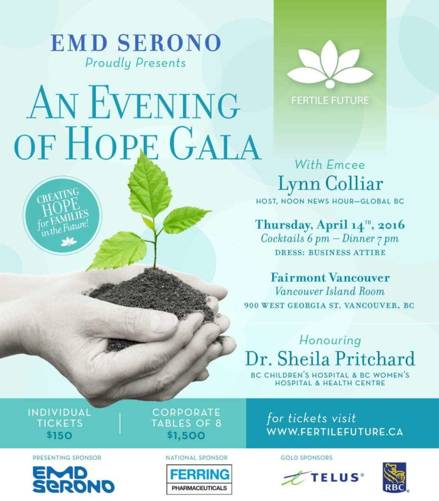 Flyer for 2016 Fertile Future Evening of Hope Gala