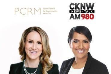 Dr. Dunn smiles next to radio woman as they prepare for the radio show of the century on CKNW news talk | PCRM Fertility Clinic Vancouver